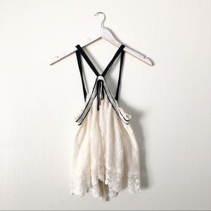 Free People Lace Halter Top Open Back